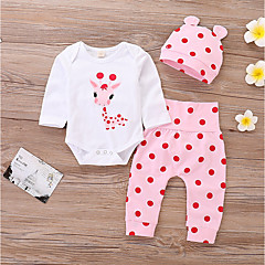 cheap Baby Girls' Clothing Sets-Baby Girls' Casual / Active Daily / Sports Print Long Sleeve Long Cotton / Polyester Clothing Set White / Toddler
