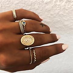 billige Motering-Dame Retro Knokering Ring Set Multi-fingerring - Harpiks Sol, Øyne Vintage, Punk, Bohem 8 Gull / Sølv Til Gave Daglig Gate / 5pcs