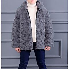 billige Jakker og frakker til drenge-Børn Drenge Basale Ensfarvet Langærmet Imiteret pels Jakke og frakke Brun 90