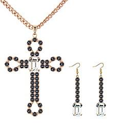 baratos Conjuntos de Bijuteria-Mulheres Oco Conjunto de jóias - Cruz Luxo, Europeu, Fashion Incluir Colar Brinco Branco / Preto / Azul Para Festa Diário