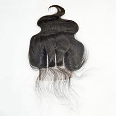 billiga Peruker och hårförlängning-Brasilianskt hår 4x4 Stängning Vågigt 3 Del Middle Part Schweizisk spetsperuk Äkta hår Dam / Flickor Party / Dam / Förlängning Bröllopsfest / Formell fest / Skola