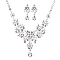 baratos Conjuntos de Bijuteria-Mulheres Zircônia Cubica Conjunto de jóias - Pêra Estiloso, Clássico Incluir Colar Brinco Prata Para Casamento Noivado