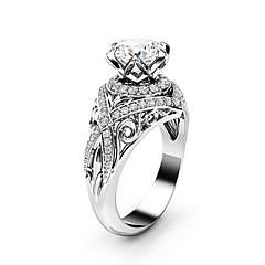 billige Motering-Dame Kubisk Zirkonium crossover Ring - Platin Belagt, Fuskediamant Kronblad, velsignet Unikt design, Mote, Elegant 6 / 7 / 8 / 9 / 10 Sølv Til Fest Stevnemøte