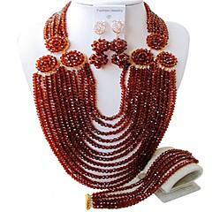 baratos Conjuntos de Bijuteria-Mulheres Camadas Conjunto de jóias - Fashion Incluir Strands Necklace Vermelho / Rosa / Champanhe Para Casamento