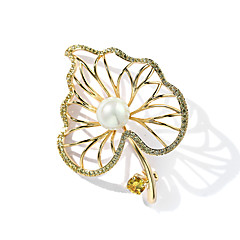 billige Motebrosjer-Dame Kubisk Zirkonium Nåler - Perle, Gullbelagt Blad Formet damer, trendy Brosje Smykker Gull Til Gave