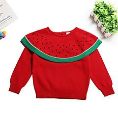 billige Sweaters og cardigans til babyer-Baby Pige Basale Daglig Ensfarvet Langærmet Bomuld Trøje og cardigan Rød 110