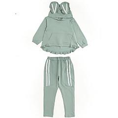 billige Tøjsæt til piger-Børn Pige Basale Ensfarvet Langærmet Normal Polyester Tøjsæt Grøn 140