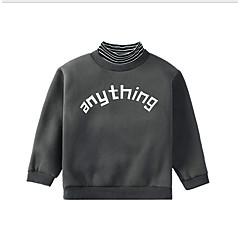 billige Overdele til drenge-Børn Drenge Basale Daglig Ensfarvet Langærmet Normal Bomuld / Polyester Bluse Brun 140