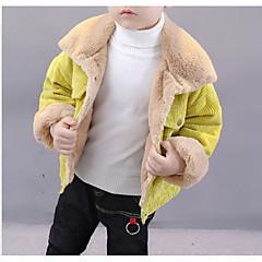 billige Jakker og frakker til drenge-Børn Drenge Basale Daglig Ensfarvet Langærmet Normal Polyester Jakke og frakke Brun 100