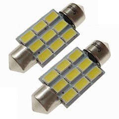 billige Interiørlamper til bil-SENCART 2pcs 36mm Bil Elpærer 4.5 W SMD 5730 270 lm 9 LED interiør Lights / utvendig Lights Til