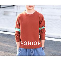 billige Sweaters og cardigans til drenge-Børn Drenge Basale Ensfarvet Langærmet Bomuld / Polyester Trøje og cardigan Brun 150