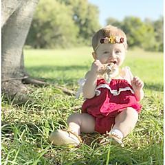 billige Babytøj-2stk Baby Pige Aktiv / Basale Jul / Daglig Ensfarvet Blonder / Sløjfer / Drapering Uden ærmer Bomuld Bodysuit Vin