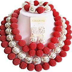 baratos Conjuntos de Bijuteria-Mulheres Camadas Conjunto de jóias - Fashion Incluir Strands Necklace Roxo / Vermelho / Rosa Para Festa Festa de Noite