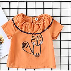 billige Babyoverdele-Baby Pige Basale Daglig Ensfarvet Langærmet Normal Bomuld / Polyester Bluse Orange