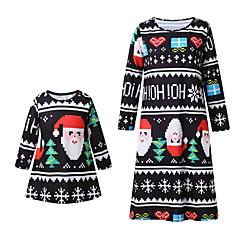 billige Sett med familieklær-Mamma og meg Aktiv Jul / Daglig Geometrisk Langermet Polyester Kjole Svart Jenter 110