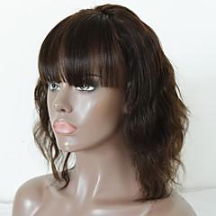 billiga Peruker och hårförlängning-Obehandlad hår Remy-hår Spetsfront Peruk Brasilianskt hår Vågigt Kroppsvågor Peruk Middle Part Sidodel 130% Hårtäthet Mjuk Naturlig Naturlig hårlinje Mörkbrun Dam Mellanlängd Äkta peruker med hätta