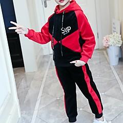 billige Hættetrøjer og sweatshirts til piger-Børn Pige Basale Daglig / Sport Trykt mønster Langærmet Normal Bomuld / Rayon Hættetrøje og sweatshirt Rød