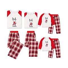 billige Sett med familieklær-Familie Look Grunnleggende Jul / Daglig Ensfarget / Geometrisk Langermet Normal Polyester Tøysett Hvit