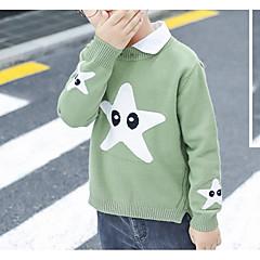 billige Sweaters og cardigans til drenge-Børn Drenge Basale Daglig Ensfarvet Langærmet Normal Bomuld / Polyester Trøje og cardigan Grøn 100