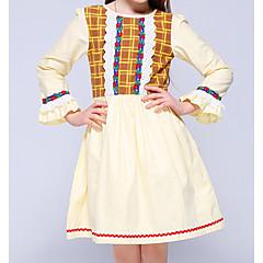 tanie Odzież dla dziewczynek-Dzieci Dla dziewczynek Podstawowy Codzienny Solidne kolory Długi rękaw Bawełna / Poliester Sukienka Żółty