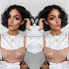 cheap Wigs & Hair Pieces-Remy Human Hair Full Lace Lace Front Wig Brazilian Hair Afro Curly Deep Curly Black Wig Bob Asymmetrical 130% 150% Density with Baby Hair Soft Women Easy dressing Best Quality Black Women's Short
