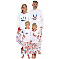 cheap Family Matching Outfits-Family Look Basic Geometric Long Sleeve Clothing Set