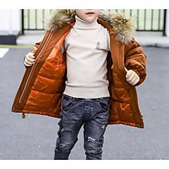 billige Jakker og frakker til drenge-Børn Drenge Basale Daglig Ensfarvet Langærmet Normal Bomuld / Polyester Jakke og frakke Brun 110