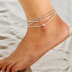 baratos Bijoux de Corps-Camadas tornozeleira - Coração Simples, Vintage, Europeu Prata Para Casual Diário Mulheres