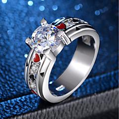 billige Motering-Dame Rød Kubisk Zirkonium Vintage Stil Statement Ring Ring - Platin Belagt, Fuskediamant Totem Serier, Hjerte Mote 6 / 7 / 8 / 9 / 10 Sølv Til Aftenselskap Karneval