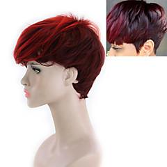 billiga Peruker och hårförlängning-Syntetiska peruker Dam Yaki Rakt Röd Gratis del Syntetiskt hår 8INCH Justerbar / Värmetåligt / syntetisk Röd Peruk Korta Utan lock Svart / Röd / Ja