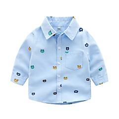 baratos Roupas de Meninos-Bébé Para Meninos Básico Estampado Manga Longa Algodão / Poliéster Camisa Azul 100