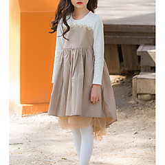 billige Pigekjoler-Børn Pige Basale Ensfarvet Langærmet Asymmetrisk Bomuld / Polyester Kjole Kakifarvet