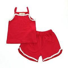 billige Undertøj og sokker til piger-2stk Baby Pige Aktiv / Basale Daglig Daisy Ensfarvet Blonder Uden ærmer Normal Normal Bomuld Nattøj Rød