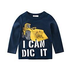 billige Overdele til drenge-Børn Drenge Aktiv Ensfarvet Langærmet Bomuld T-shirt Blå 110
