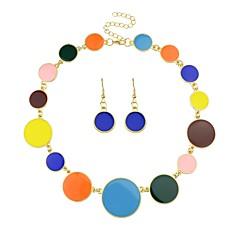 baratos Conjuntos de Bijuteria-Mulheres Tropical Conjunto de jóias - Simples, Fashion Incluir Brincos Compridos Colares com Pendentes Preto / Arco-íris / Azul Para Cerimônia Encontro