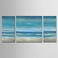 cheap -Oil Painting Hand Painted - Abstract Landscape Modern Stretched Canvas / Three Panels