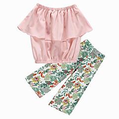 billige Tøjsæt til piger-Børn Pige Aktiv / Gade Daglig / I-byen-tøj Blomstret Drapering / Trykt mønster Uden ærmer Kort Polyester Tøjsæt Lyserød