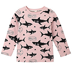 billige Pigetoppe-Baby Pige Aktiv Daglig Geometrisk Langærmet Polyester T-shirt Lyserød