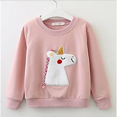 olcso Kislány ruhák-Kisgyermek Lány Alap Napi Egyszínű Hosszú ujj Szokványos Poliészter Blúz Arcpír rózsaszín