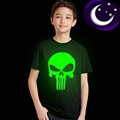 お買い得  ボーイズウェア-子供 男の子 ストリートファッション プリント 半袖 レギュラー ポリエステル Tシャツ ブラック