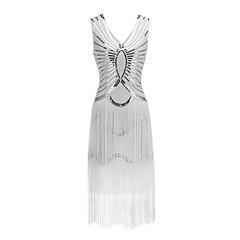 Grande Gatsby Vintage Stile anni '20 Costume Per donna Vestito da Serata Elegante Vestito del flapper Nero / Rosso / Dorato Vintage Cosplay Lustrini Feste Senza maniche A V Lunghezza tè