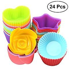 billige Bakeredskap-Bakeware verktøy Silikon Gummi GDS Til Kake Rund Cake Moulds 24pcs