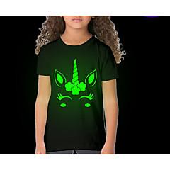 economico Abbigliamento per bambine-Bambino Da ragazza Moda città Con stampe Manica corta Standard Poliestere T-shirt Nero