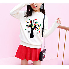 billige Hættetrøjer og sweatshirts til piger-Børn Pige Basale Daglig Ensfarvet Langærmet Normal Bomuld / Polyester Hættetrøje og sweatshirt Sort