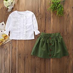Χαμηλού Κόστους Σετ ρούχων για κορίτσια-Παιδιά / Νήπιο Κοριτσίστικα Ενεργό / Βασικό Καθημερινά / Αργίες Μονόχρωμο Με Βολάν Μακρυμάνικο Κανονικό Βαμβάκι / Spandex Σετ Ρούχων Λευκό