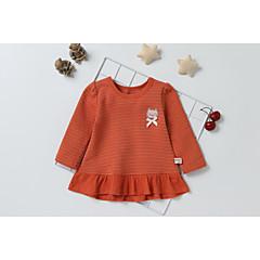 billige Babyoverdele-Baby Pige Basale Daglig Sort & Rød Patchwork Patchwork Langærmet Lang Lammeuld Bluse Orange