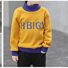 billige Hættetrøjer og sweatshirts til drenge-Børn Drenge Basale Daglig Ensfarvet Langærmet Normal Bomuld / Polyester Hættetrøje og sweatshirt Grøn