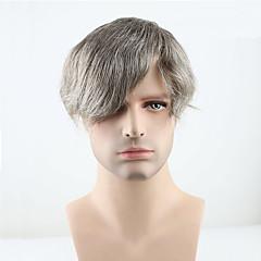 billiga Peruker och hårförlängning-Herr Äkta hår Tupéer Rak 100 % handbundet Mjuk / Mörkgrå