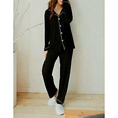 billige Moteundertøy-Dame Skjortekrage Dress Pyjamas - Bokstaver