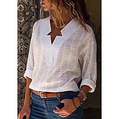 Damen Solide Übergrössen Baumwolle Hemd, V-Ausschnitt
